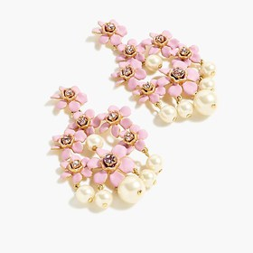 J. Crew Pearl and crystal floral chandelier earrin