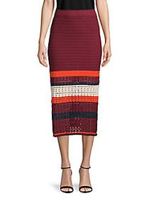 Free People Knitted Colorblock Cotton Skirt MAROON