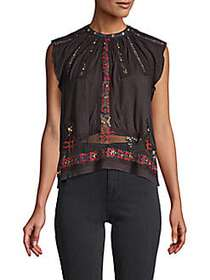 Free People Embellished & Embroidered Top WASHED B