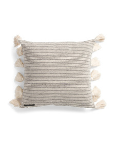 MAGASCHONI 18x18 Two Sided Textured Stripe Pillow