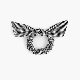 J. Crew Bow scrunchie in houndstooth