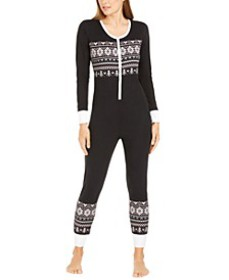 Printed Thermal One Piece Pajama, Created For Macy