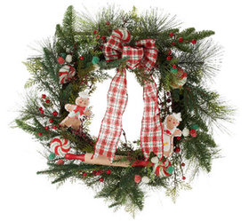 """""""As Is"""" 24"""" Gingerbread Wreath with Plaid Bow by V on sale at QVC"""
