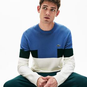 Lacoste Men's Crew Neck Colorblock Wool And Cotton