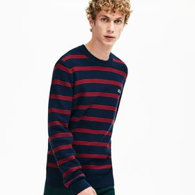 Lacoste Men's Crewneck Pinstriped Wool and Cotton