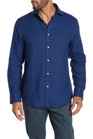 Thomas Dean Herringbone Long Sleeve Shirt