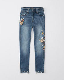 High Rise Ankle Jeans, EMBROIDERED DARK WASH
