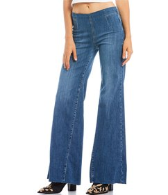 Free People Drapey Aline Flared Pull On Jeans