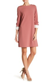 Sharagano 3/4 Sleeve Pleat Trim Dress