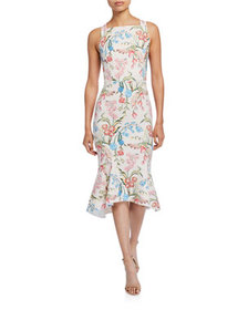 Peter Pilotto Floral-Print Cady Square-Neck Dress