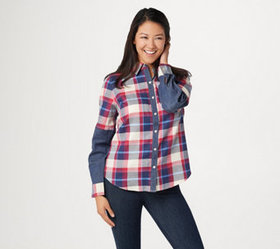"""As Is"" Denim & Co. Button- Front Plaid Shirt with"