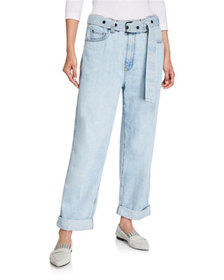 Brunello Cucinelli Grommet-Belted Relaxed-Fit Jean