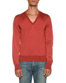 TOM FORD Men's Long-Sleeve V Neck Shirt