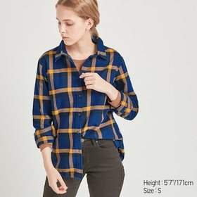 WOMEN FLANNEL CHECKED LONG-SLEEVE SHIRT, BLUE, med