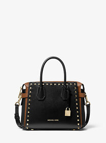 Michael Kors Mercer Small Studded Leather Belted S