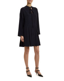 Valentino Go Logo Satin Long-Sleeve Tie-Neck Dress