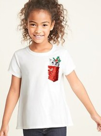 Christmas Kitty Flip-Sequin Graphic Tee for Girls