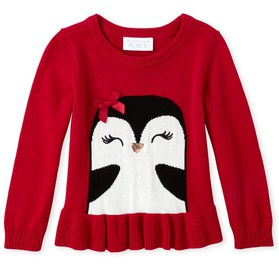 Toddler and Girls Penguin Party Peplum Sweater