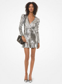 Michael Kors Sequined Ruched-Sleeve Dress