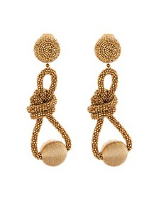 Oscar de la Renta - Beaded Knot Clip-On Drop Earri