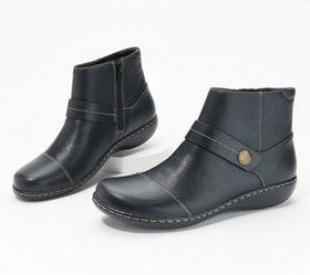 """As Is"" Clarks Collection Leather Ankle Boots- Ash"