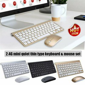 3 Colors Mini Wireless Keyboard And Mouse Set Wate
