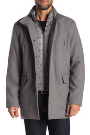 Cole Haan Wool Blend Puffer Bib Coat