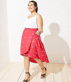 LOFT Plus Polka Dot Wrap Skirt