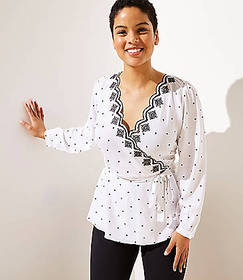 LOFT Plus Scalloped Dot Faux Wrap Top