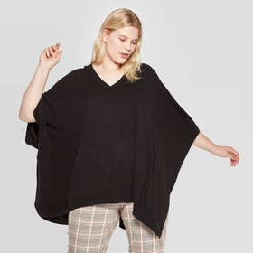 Women's Plus Size Pullover V-Neck Poncho Wrap Jack