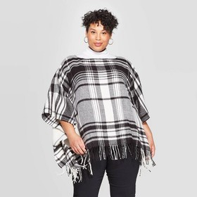 Women's Plus Plaid Poncho - A New Day™ B
