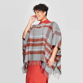 Women's Plus Plaid Poncho - A New Day™ G