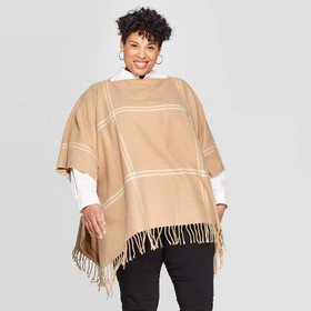 Women's Plus Plaid Poncho - A New Day™ T