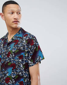 Brave Soul Short Sleeve Tattoo Print Shirt With Re