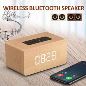 2 in 1 LED Alarm Clock Wireless Wooden bluetooth S