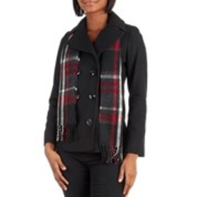 LONDON FOG Petite Double Breasted Peacoat With Sca
