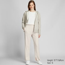 WOMEN WIDE-RIBBED SLIT STRAIGHT PANTS, NATURAL, me
