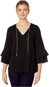 MICHAEL Michael Kors Pleat Sleeve V-Neck Top