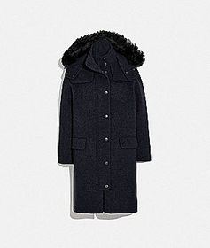 Coach luxury wool parka with shearling ruff