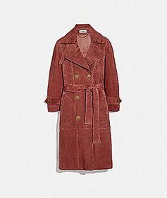 Coach drapey suede trench coat