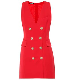 Balmain Embellished wool minidress