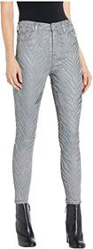 7 For All Mankind High-Waist Ankle Skinny in Grey