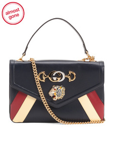 GUCCI Made In Italy Leather Rajah Flap Shoulder Ba