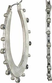 Lucky Brand Textured Oval Pave Hoop Earrings