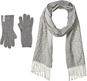 Calvin Klein Two-Piece Woven Border Scarf and Knit