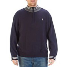 Big & Tall Contrast Collar Quarter-Zip Sweater