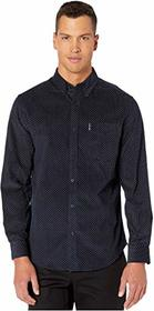 Ben Sherman Long Sleeve Geo Print Cord Shirt