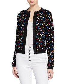 Alice + Olivia Ruthy Floral Embellished Button-Fro