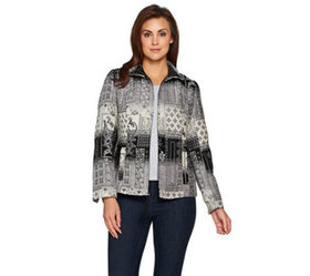 """As Is"" Susan Graver Tapestry Zip Front Jacket - A"