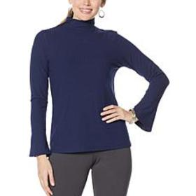 """""""As Is"""" Slinky® Brand Ribbed Knit Mock-Neck Top wi"""
